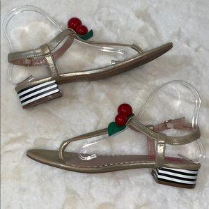Betsey Johnson retro cherry t-strap sandals heels
